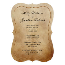Rustic Vintage Brown Tan Ivory Reception Only 13 Cm X 18 Cm Invitation Card
