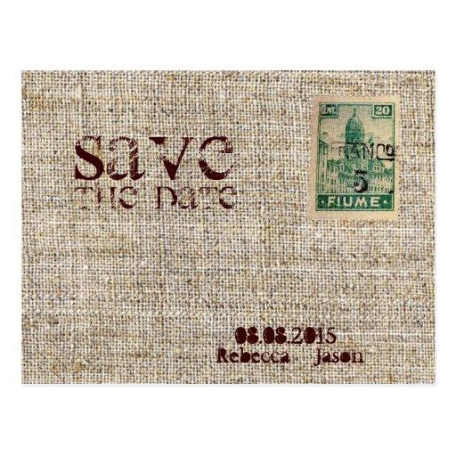 Rustic vintage burlap country SaveTheDate Post Cards