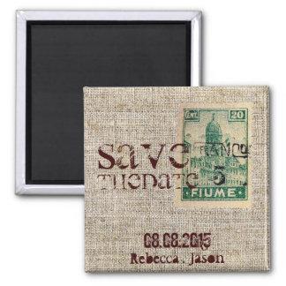 Rustic vintage  burlap country SaveTheDate Square Magnet