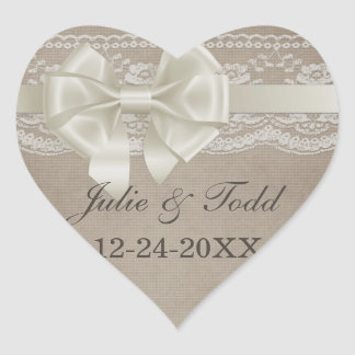 Rustic Vintage Burlap & Lace Wedding Save The Date Heart Sticker