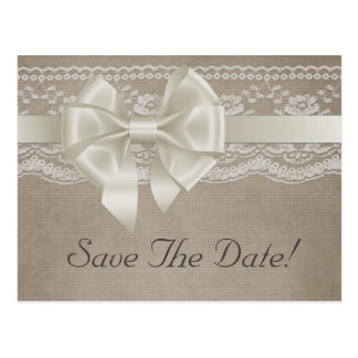 Rustic Vintage Burlap Lace Wedding Save The Date Postcard