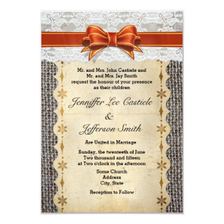 Rustic Vintage Burlap With Lace Wedding Invitation