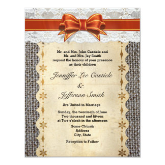 Rustic Vintage Burlap With Lace Wedding Invitation