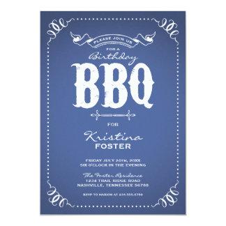 Rustic Vintage Chic Birthday Party BBQ 13 Cm X 18 Cm Invitation Card