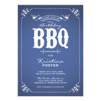 Rustic Vintage Chic Birthday Party BBQ Invite