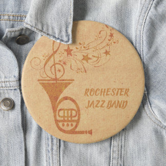 Rustic  Vintage Classical Music French Horn Band 6 Cm Round Badge