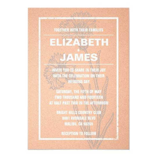 Rustic Vintage Coral Wedding Invitations