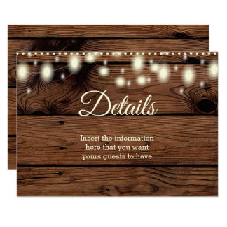 Rustic Vintage Country Details Information Wedding Card