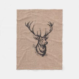 Rustic Vintage Deer Antlers Fleece Blanket