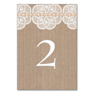 Rustic Vintage Doily Wedding Table Card
