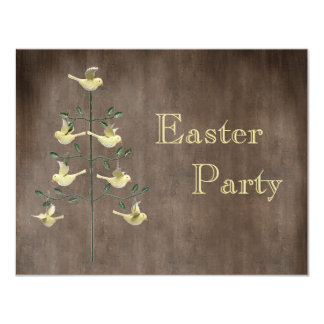 Rustic Vintage Easter Tree & Birds Easter Party Card