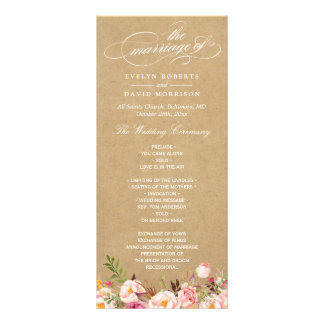 Rustic Vintage Floral Kraft | Wedding Program Rack Card