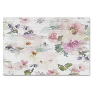 Rustic Vintage Floral Wood Wedding Tissue Paper