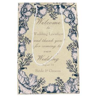 Rustic Vintage Flower Floral Wedding Medium Gift Bag