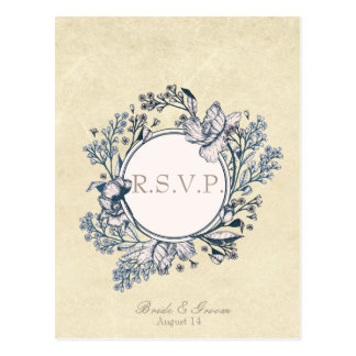 Rustic Vintage Flower Floral Wedding RSVP Postcard