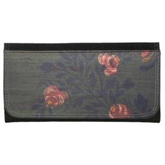 Rustic vintage flowers leather wallet