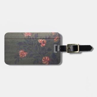 Rustic vintage flowers luggage tag