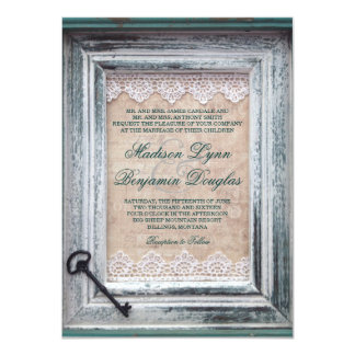Rustic Vintage Frame Lace Key Aqua Wedding Invites