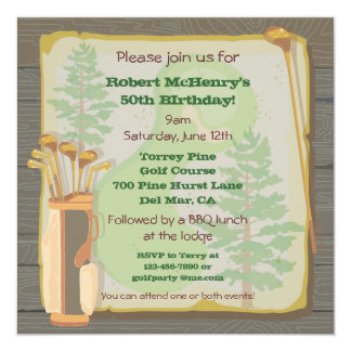 Rustic Vintage Golf Party Tournament Invitation