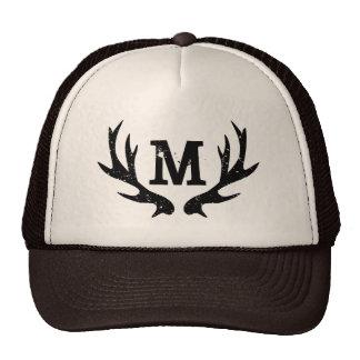 Rustic vintage hunting deer antlers trucker hat