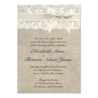 "Rustic Vintage Inspired Wedding Invitation 5"" X 7"" Invitation Card"