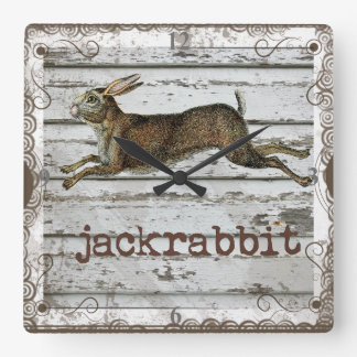 Rustic Vintage Jackrabbit Hare Drawing White Wood Square Wallclock