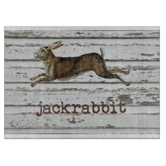 Rustic Vintage Jackrabbit Hare Drawing White Wood Cutting Board