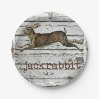 Rustic Vintage Jackrabbit Hare Drawing White Wood Paper Plate