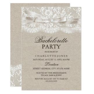 Rustic Vintage Lace Burlap Bachelorette Party Card