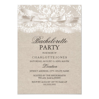 Rustic Vintage Lace & Burlap Bachelorette Party 13 Cm X 18 Cm Invitation Card