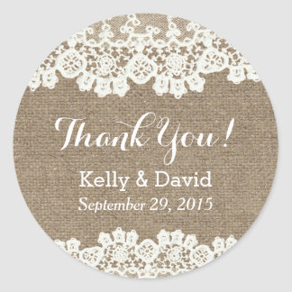 Rustic Vintage Lace & Burlap Wedding Favor Round Sticker