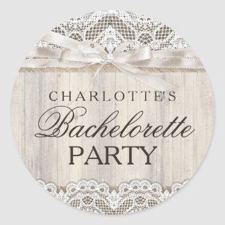 Rustic Vintage Lace & Wood Bachelorette Sticker