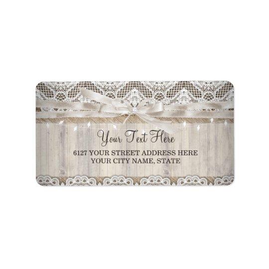 Rustic Vintage Lace Wood Wedding Lights Label Address