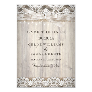 Rustic Vintage Lace Wood Wedding Save The Date 9 Cm X 13 Cm Invitation Card