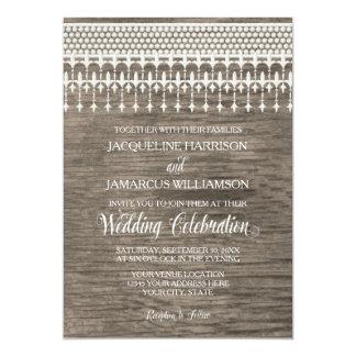 Rustic Vintage Lace Wooden Fence Script Typography 13 Cm X 18 Cm Invitation Card
