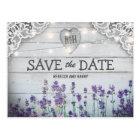 Rustic Vintage Lavender Save the Date Postcard