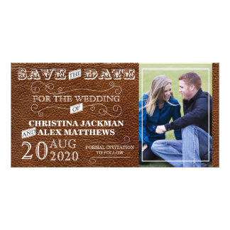 Rustic Vintage Leather Look Save The Date Photo Custom Photo Card