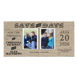Rustic Vintage Look Save The Date 2 Photo Photo Greeting Card