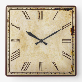 Rustic Vintage Look Square Roman Numeral Square Wall Clock