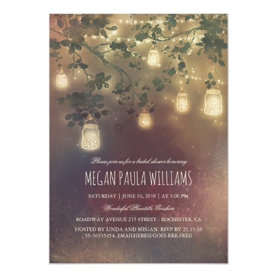 Rustic Vintage Mason Jar Lights Bridal Shower Card