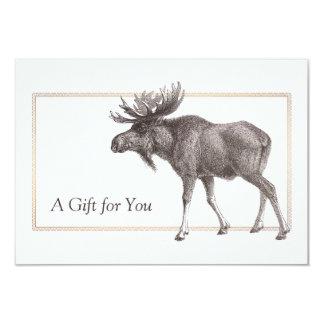Rustic Vintage Moose Gift Certificate 9 Cm X 13 Cm Invitation Card