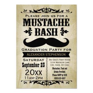 Rustic Vintage Mustache Bash Graduation Party 11 Cm X 16 Cm Invitation Card