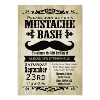 Rustic Vintage Mustache Bash Party 13 Cm X 18 Cm Invitation Card