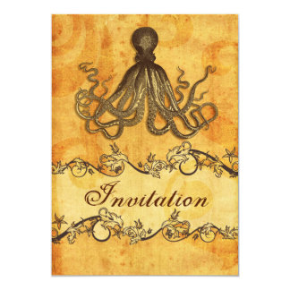 rustic, vintage ,octopus beach wedding invites