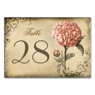 Rustic Vintage Pink Peony Wedding Table Cards
