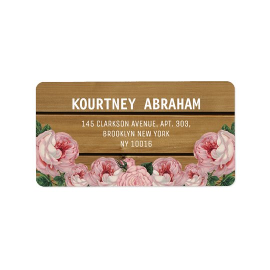 Rustic Vintage Pink Rose Address Label