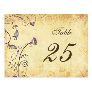 rustic vintage purple floral table numbers postcard