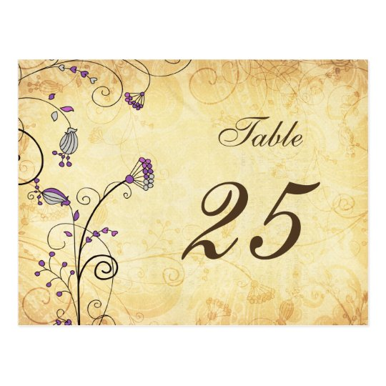 rustic vintage purple floral table numbers postcard