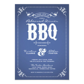 Rustic Vintage Rehearsal Dinner BBQ 13 Cm X 18 Cm Invitation Card