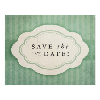 Rustic Vintage Sage Green Save the Dates Personalized Announcement